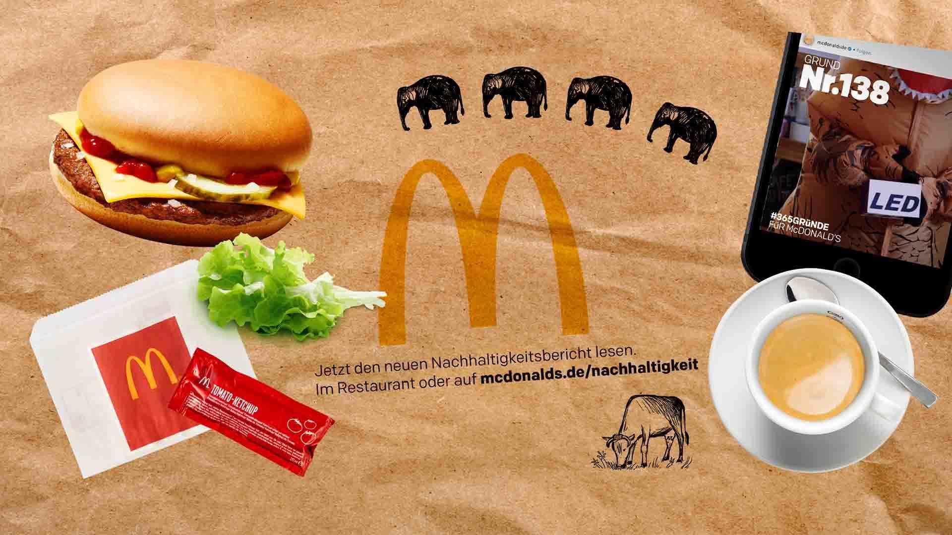 Das Bild zeigt einen Hintergrund der braun gefärbt ist. Die Mitte des Bildes wird durch ein gelbes M, das M des McDonalds Logos, geziert. Um das M herum sind rechts ein Kaffee und ein Handy zu finden. Über dem M sind kleine Elefanten auf den Hintergrund gezeichnet worden. Links neben dem M steht ein Burger, einige Salatblätter, eine Packung Ketchup sowie eine Serviette. Das ganze Bild ist eine Animation. Das Bild dient als Titelbild für den Portfolioeintrag McDonald's Nachhaltigkeits Erklärfilme von Panda Pictures.