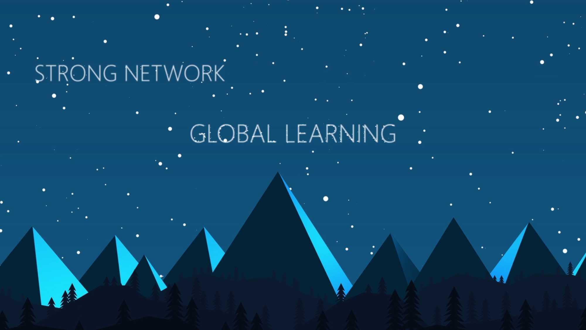 """Das Bild zeigt einen animierten Nachthimmel. Auf dem Boden sind einzelne Berge zu sehen. Ein animierter Text wurde mit in das Bild getracked. Dieser sagt """"Global learning"""" und """"Strong network"""". Das Bild dient als Making Of Bild für den Portfolioeintrag Global Aerospace Campus Erklärfilm von Panda Pictures."""