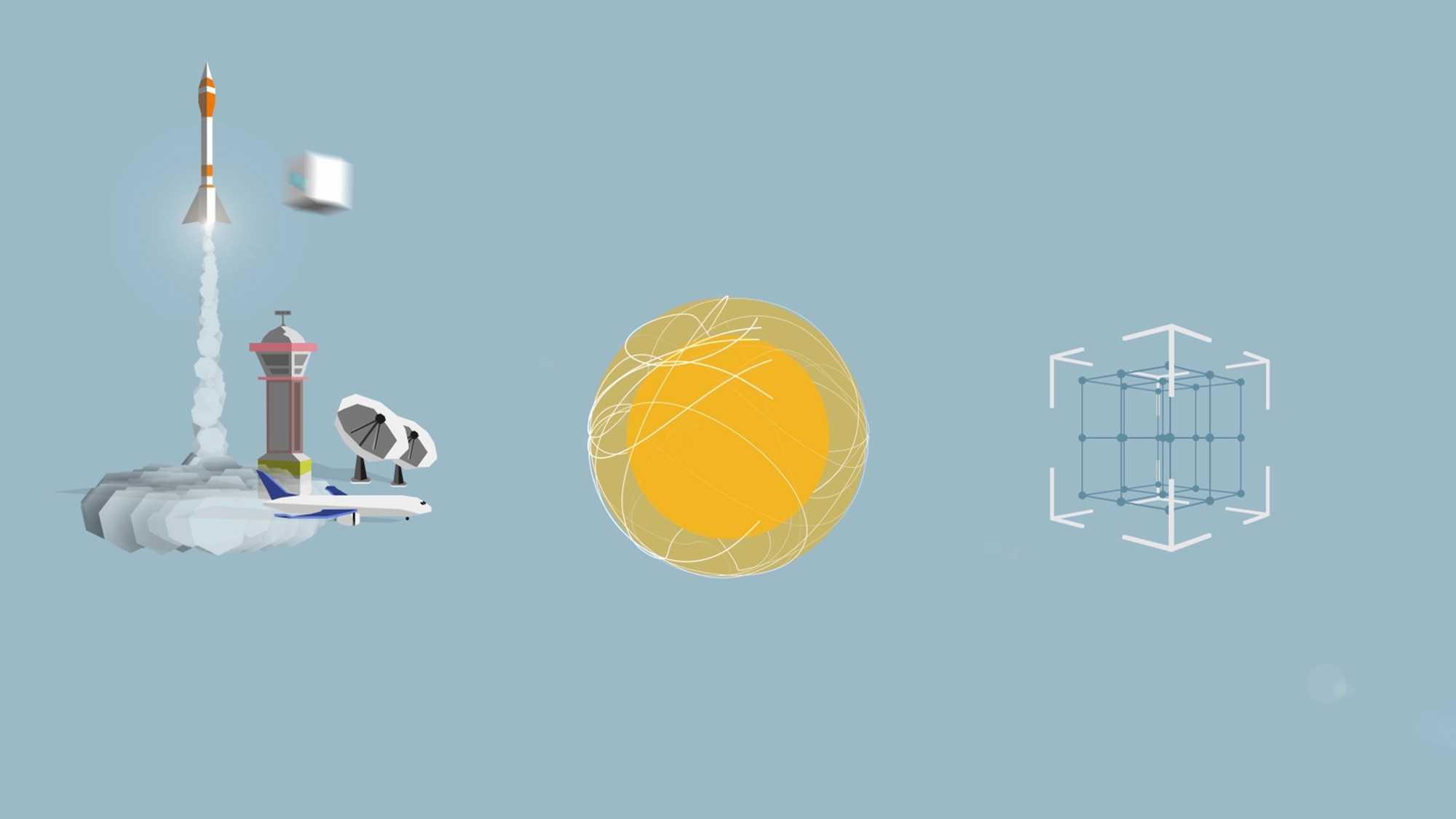 Das Bild zeigt auf der linken Seite eine animierte Rakete. Diese ist gerade dabei abzuheben. Sie ist auf einen blauen Hintergrund gebettet. Neben ihr, in der Mitte des Bildes, ist eine Sonne zu sehen. Neben dieser Sonne ist ein Viereck angebracht, dieses Viereck besteht aus einzelnen Steckteilen. Das Bild dient als Sliderbild für den Portfolioeintrag Global Aerospace Campus Erklärfilm von Panda Pictures.