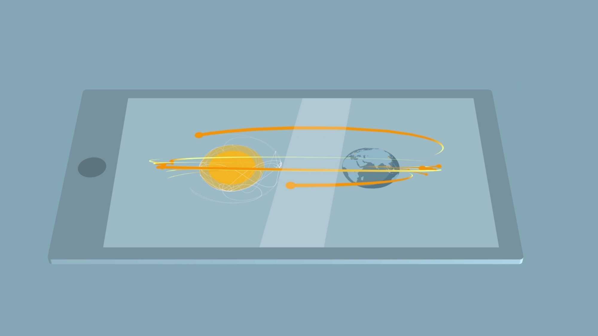 """Das Bild zeigt eine Animation eines Tablets. Dieses liegt auf einem blauen Hintergrund. Auf dem Bildschirm des Tablets sieht man eine Sonne, die auf der linken Seite steht und eine Erdkugel, die auf der rechten Seite steht. Das Ganze wird durch gelbe Linien umrahmt. Das Bild dient als Sliderbild für den Portfolioeintrag """"Global Aerospace Campus Erklärfilm"""" von Panda Pictures."""