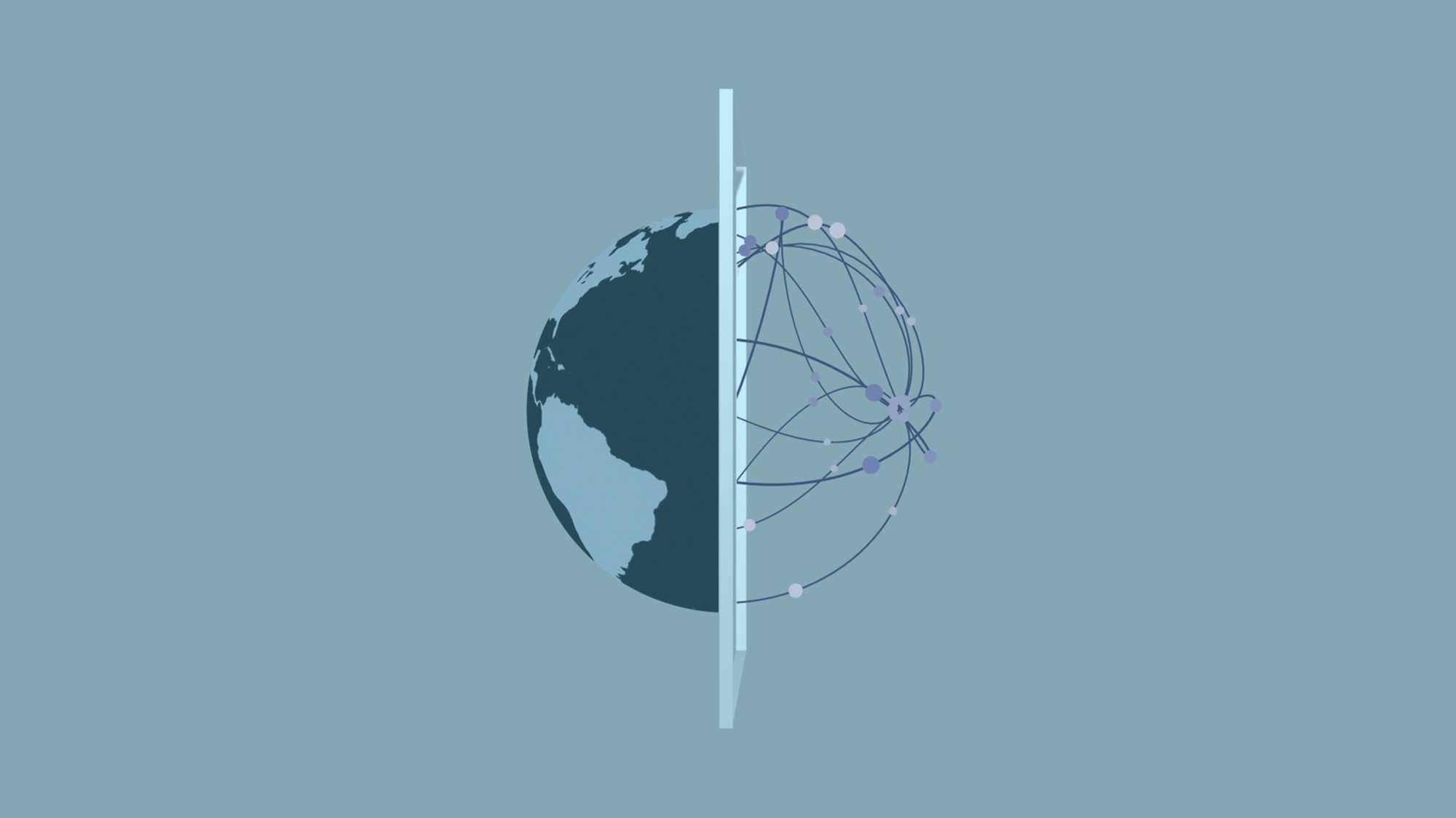 Das Bild zeigt eine Animation einer Weltkugel. Sie liegt auf einem blauen Hintergrund. In der Mitte der Kugel ist eine Trennung durch eine Linie angedeutet. Auf der linken Seite ist die Kugel normal zu sehen, mit den Kontinenten und Meeren. Auf der rechten Seite ist die Kugel nur aus Linien, die ineinander verlaufen zu sehen. Das Bild dient als Sliderbild für den Portfolioeintrag Global Aerospace Campus Erklärfilm von Panda Pictures.