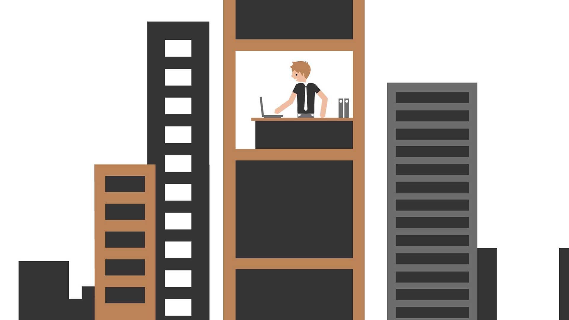 Das Bild zeigt einen Mann. Er ist animiert und befindet sich in einem Büro, dass man in der Mitte eines Hauses sehen kann da um das Haus herum Fensterfronten zu sehen sind. Neben dem Haus befinden sich hohe Regale. Das Bild dient als Sliderbild für den Portfolioeintrag PROGENIUM Erkärfilm von Panda Pictures.