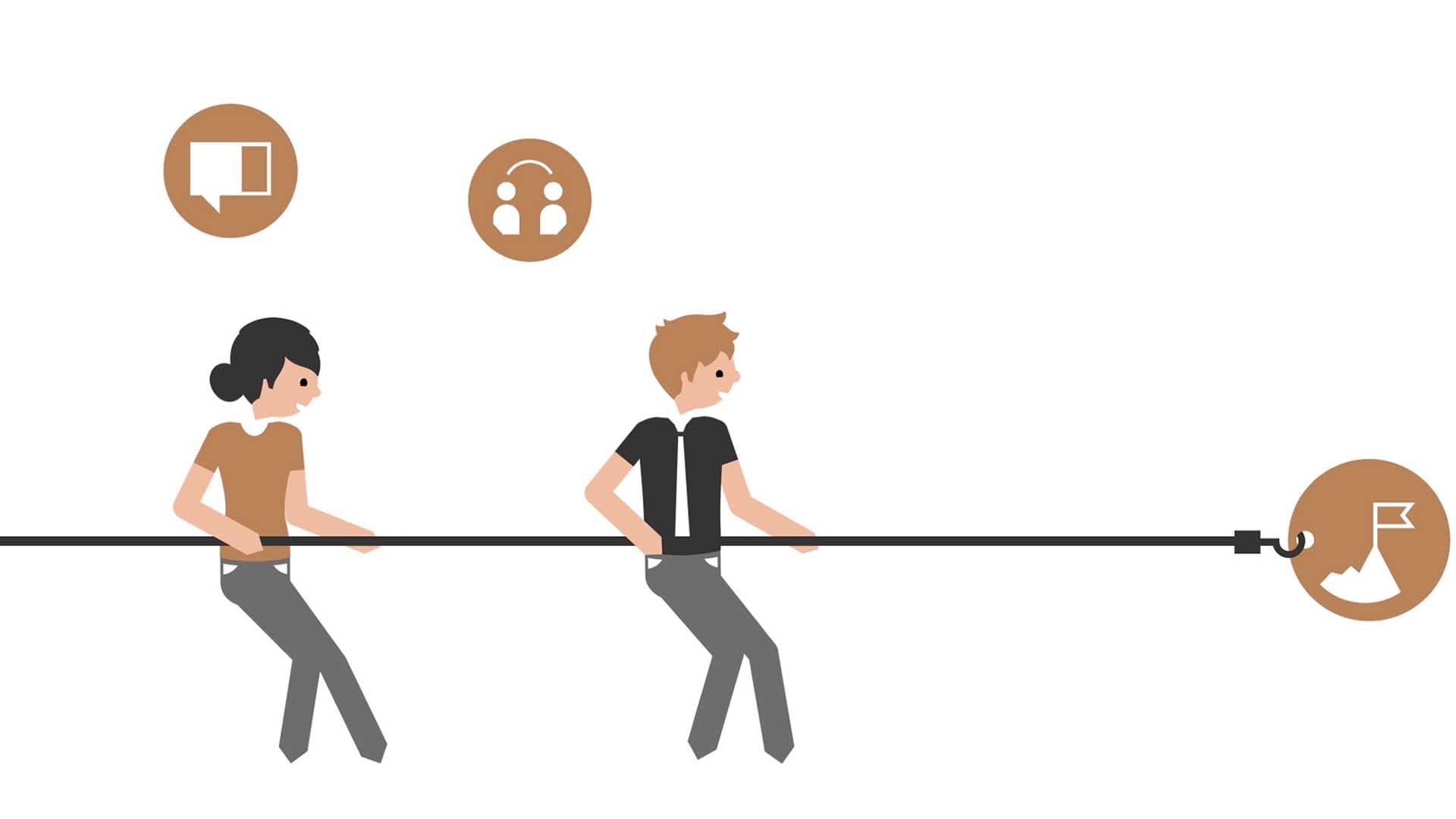 Das Bild zeigt eine Animation. Man sieht zwei Menschen die sich an einer Schnur festhalten an der ein Haken angebracht ist. Dieser mündet in einer braunen Blase. In dieser Blase steht ein Berg auf dem eine Flagge weht. Über den beiden sind zwei weitere Blasen zu sehen, in diesen ist einmal eine Sprechblase und einmal zwei Menschen dient durch einen Strich verbunden sind zu sehen. Das Bild dient als Sliderbild für den Portfolioeintrag PROGENIUM Erkärfilm von Panda Pictures.