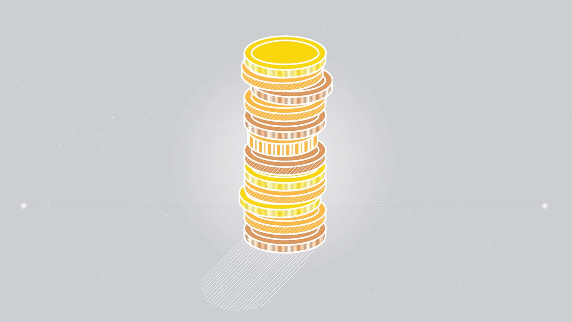 Das Bild zeigt einen Stapel Geldstücke. Sie sind Gold oder Bronze. Sie sind animiert und auf einen grauen gelegt. Das Bild dient als Sliderbild für den Portoflioeintrag MEDISinn Erklärfilm von Panda Pictures.