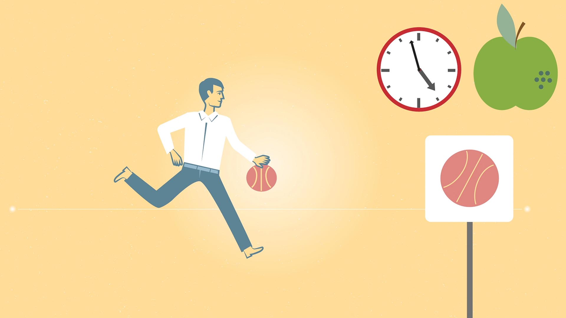 Das Bild zeigt einen Hintergrund in der Farbe gelb. Auf diesem ist ein Mann der mit einem Basketball spielt zu sehen. Die rechte Seite zeigt einen grünen Apfel, eine Uhr und ein Schild auf dem ein Basketball abgebildet ist. Das Bild dient als Sliderbild für den Portfolioeintrag MEDISinn Erklärfilm von Panda Pictures.