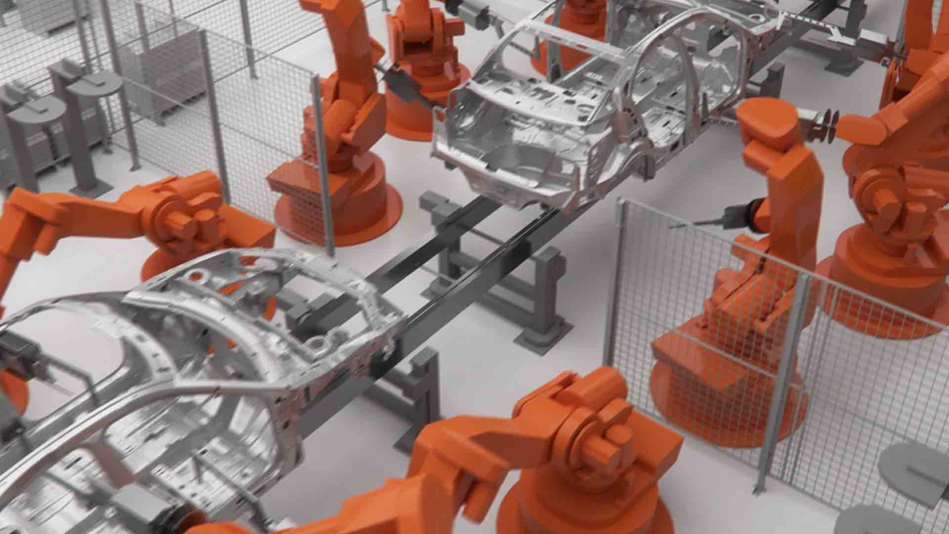 Zu sehen ist eine Maschine. Diese Maschine baut Autos zusammen. Die Hebearme der Maschine sind orange. Vor ihr ist ein Laufband angebracht. Auf diesem fahren silberne Gerüste von Autos entlang. Das Bild dient als Sliderbild für den Portfolioeintrag BMW Plant San Luis Potosí Mexico von Panda Pictures.