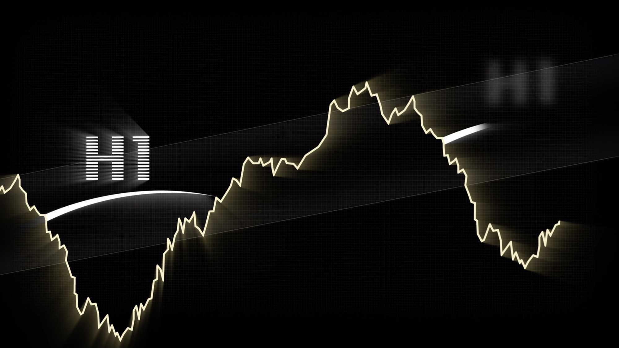 Das Bild zeigt eine Linie, die den Börsenkurs widerspiegelt. Sie verläuft auf einem schwarzen Hintergrund. Links steht das Wort h1, es ist per Animation eingetracked worden. Das Bild dient als Sliderbild für den Portfolioeintrag H1 Fond von Panda Pictures.