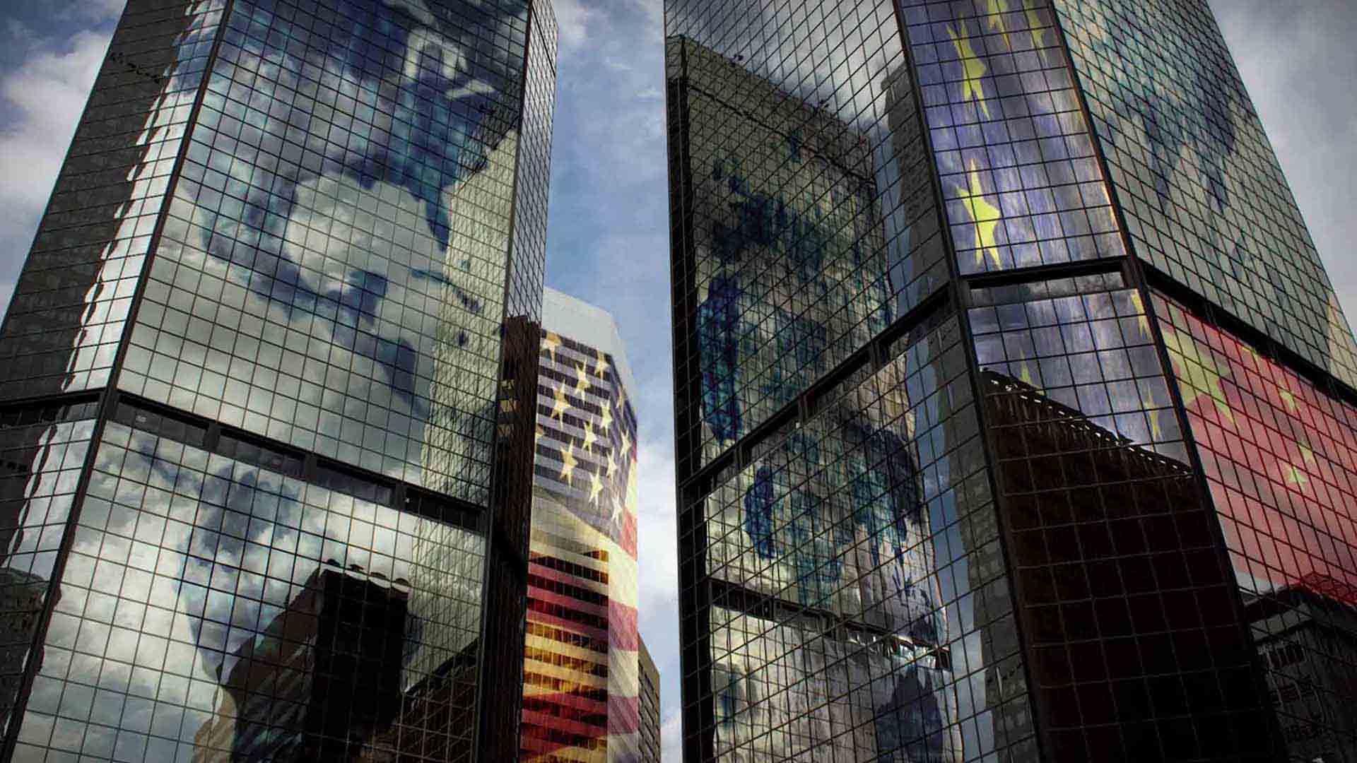 Das Bild zeigt Hochhäuser, es sind drei stück. Diese bestehen komplett aus Glas. Da sie aus Glas bestehen spiegelt sich der Himmel in ihnen wieder. Das Bild dient als Sliderbild für den Portfolioeintrag SupplyOn - Supply Chain Management Imagefilm von Panda Pictures.