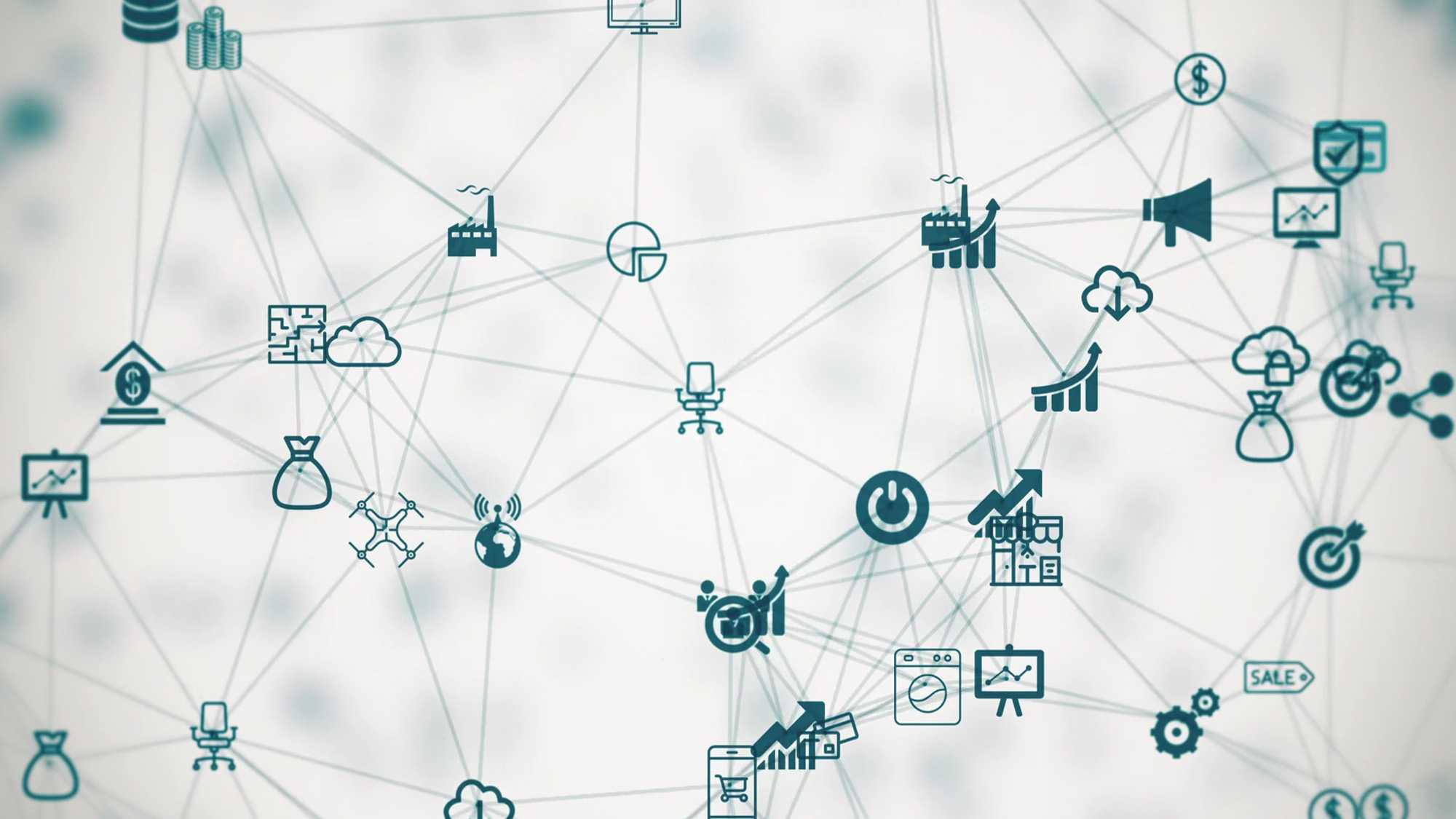 Das Bild zeigt einen weißen Hintergrund. Auf diesem laufen viele Linien in grün mit verschiedenen Icons wie ein Spinnennetz. Das Bild dient als Sliderbild für den Portfolioeintrag SupplyOn - Supply Chain Management Imagefilm von Panda Pictures.