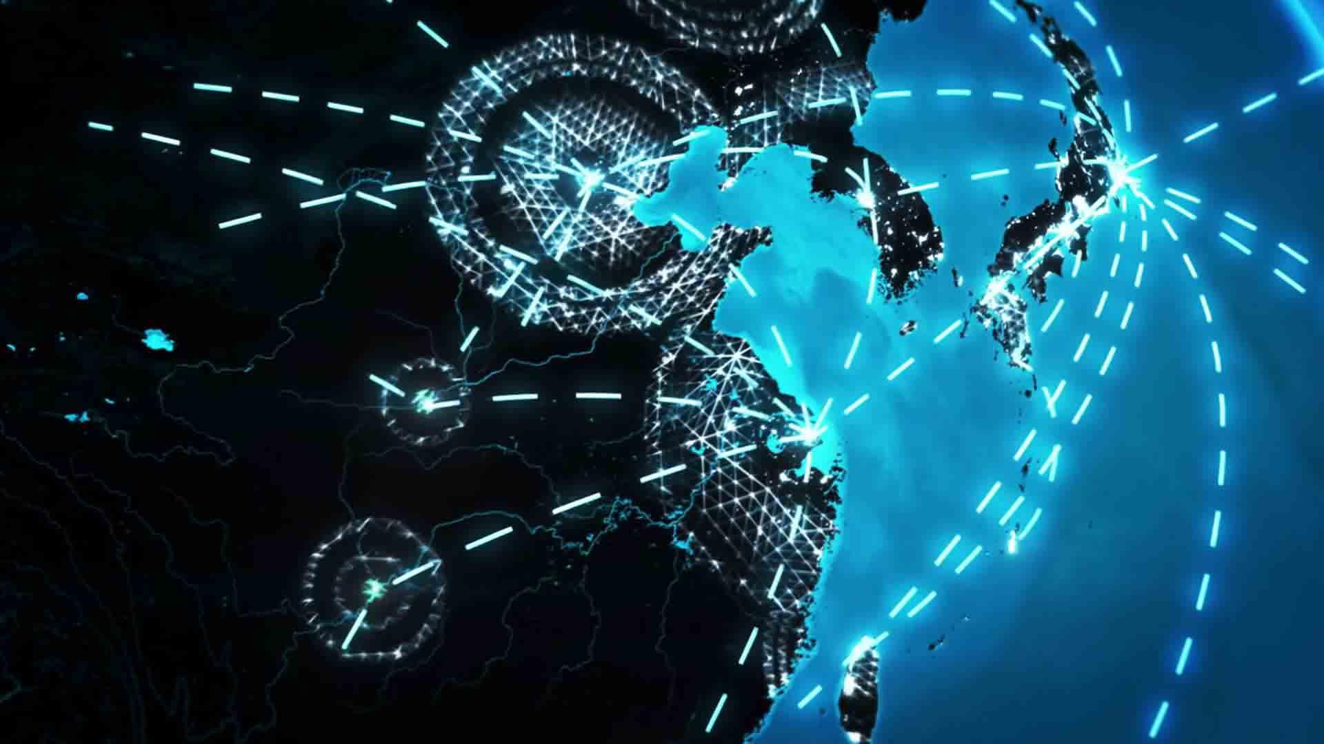 Das Bild zeigt einen Ausschnitt einer Weltkarte. Man sieht ein blaues Land. Dieses liegt auf schwarzem Hintergrund. Um das Land herum laufen einzelne Strichlinien. Das ganze sieht sehr abstrakt aus. Das Bild dient als Sliderbild für den Portfolioeintrag SupplyOn - Supply Chain Management Imagefilm von Panda Pictures.