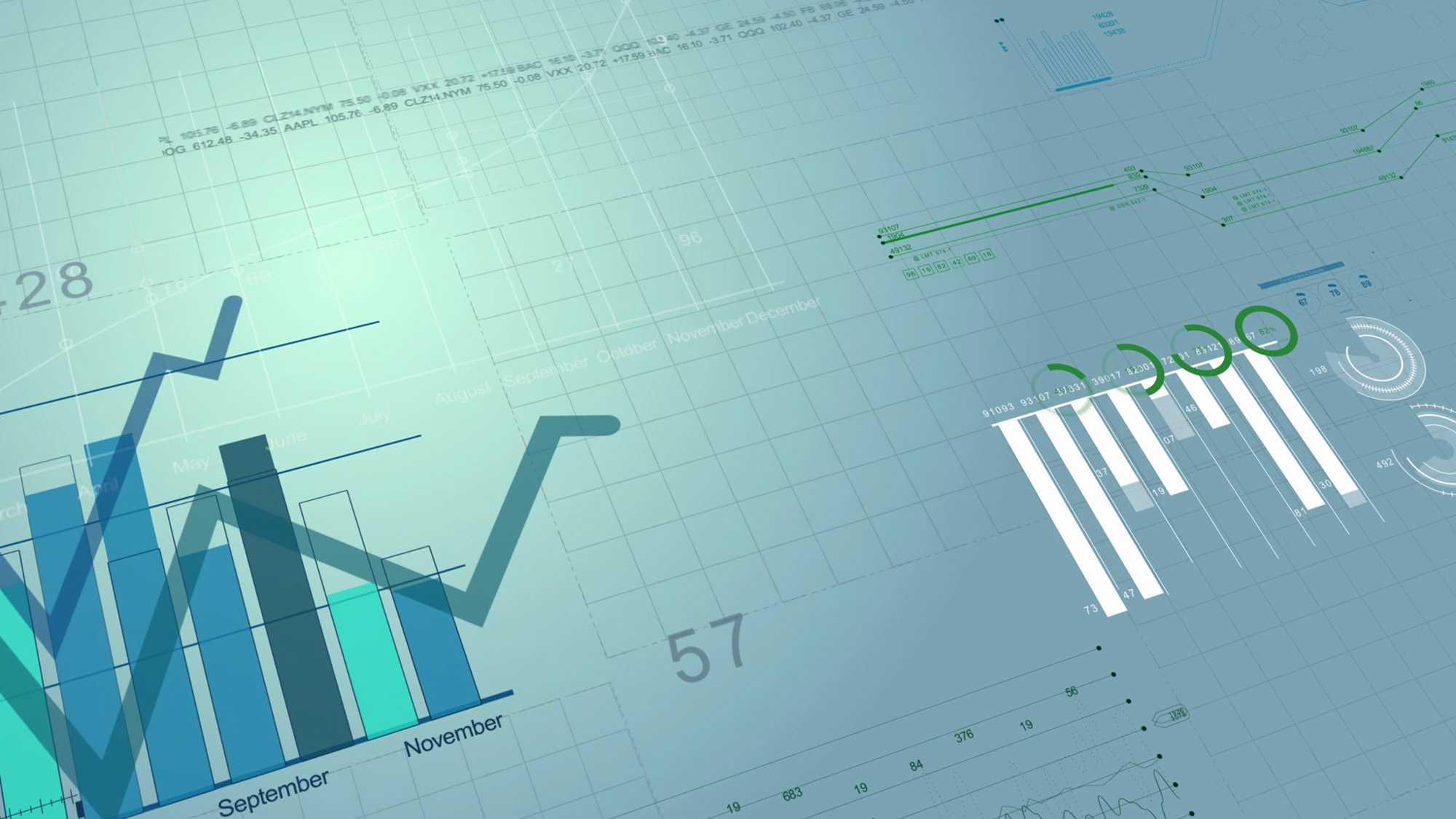 Das Bild zeigt ein paar Diagramme, die auf einem grünen Hintergrund liegen. Das Bild dient als Sliderbild für den Potfolioeintrag SupplyOn - Supply Chain Management Imagefilm von Panda Pictures.