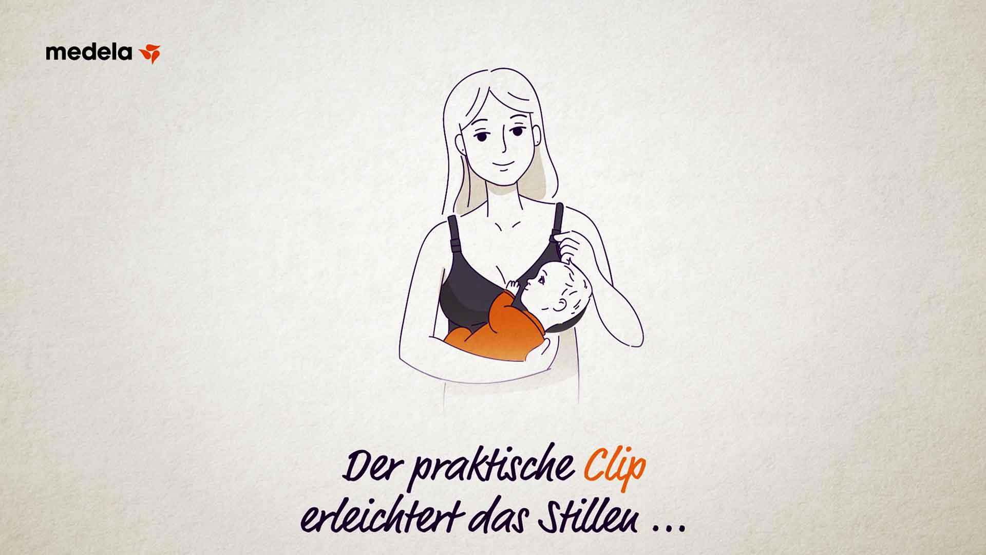 Das Bild zeigt eine animierte Zeichnung einer Frau. Sie hält ein Baby an ihre Brust an der sie einen schwarzen BH trägt. Unterhalb ihres Oberkörpers ist ein animierter Text eingebettet worden. Das Bild dient als Sliderbild für den Portfolioeintrag Medela – Schwangerschafts- und Still-BH von Panda Pictures.