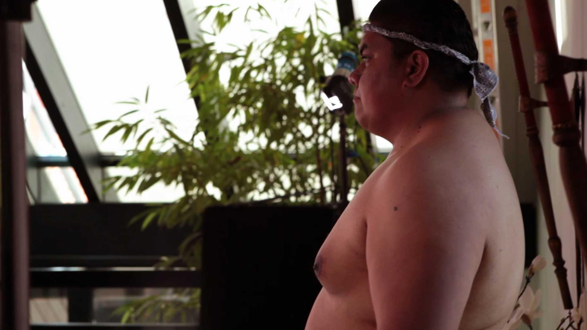 """Das Bild zeigt einen Sumo. Er steht in einem Raum in dem eine Bambuspflanze steht. Diese ist hinter ihm angebracht. Sein Oberkörper ist unbedeckt. Er trägt ein Band auf seinem Kopf. Das Bild dient als Sliderbild für den Portfolioeintrag """"BMW Connected Drive Sumos"""" von Panda Pictures."""