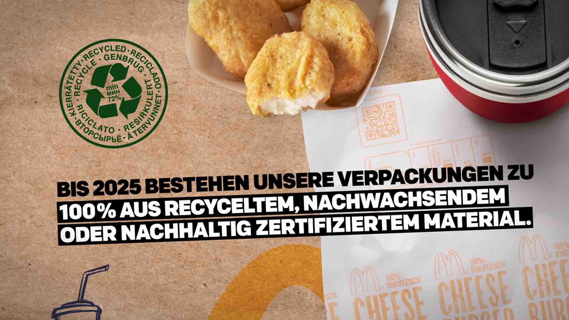 Das Bild zeigt Chicken McNuggets und eine Coca Cola in einem Becher. Beide stehen auf einer Verpackung die von einem Cheeseburger abstammt. In der Mitte des Bildes sind Texte animiert. Ein Logo, das für Recycling steht, ist auch zu finden. Das Bild dient als Sliderbild für den Portfolioeintrag McDonald's Nachhaltigkeits Erklärfilme von Panda Pictures.