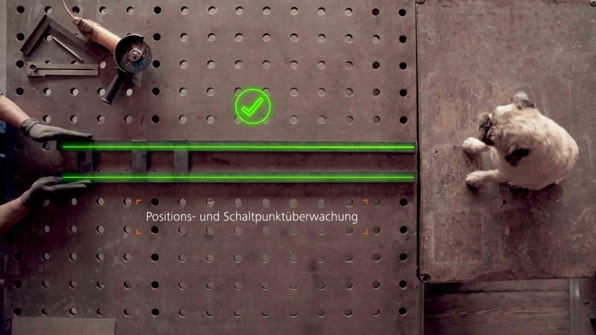 Das Bild zeigt eine Werkzeugbank von oben. Auf ihr sitzt ein Hund der Rasse Mops. Vor ihm liegen zwei Eisenstangen und eine Winkelmaschine die von zwei Händen positioniert werden. Die Eisenstangen werden durch eine animation grün markiert. Über beiden Stangen ist ein kleiner Haken zu sehen. Unterhalb ist ein animierter Text eingebettet. Das Bild dient als Sliderbild für den Portfolioeintrag ifm Positionssensor von Panda Pictures.