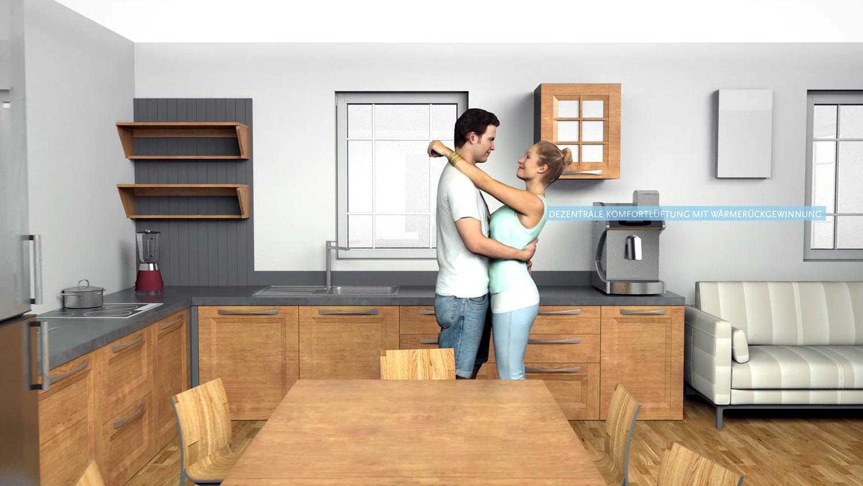 Das Bild zeigt eine Animation. Diese ist aus 3D und zeigt den Wohnraum eines Hauses. In diesem Wohnraum sind ein Tisch sowie eine Kücheneinrichtung zu finden. Ein Paar steht in der Mitte des Raumes und umarmt sich. Das Bild dient als Making Of Bild für den Portfolioeintrag Meltem von Panda Pictures.