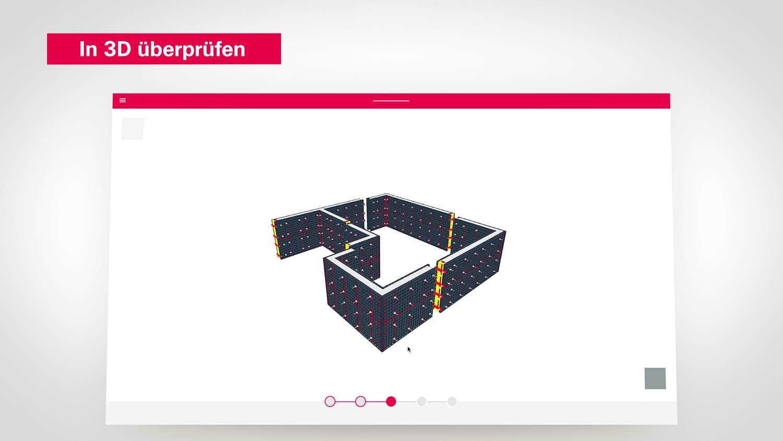 Das Bild zeigt einen Screenshot einer Webseite. Auf der Webseite ist ein Grundriss eines Hauses. Der obere Part der Webseite ist rot. Der Ausschnitt ist auf einem grauen Hintergrund zu sehen. Links oberhalb des Ausschnittes ist ein kleiner Textblock zu sehen. Das Bild dient als Sliderbild für den Portfolioeintrag Peri Produktfilme von Panda Pictures.