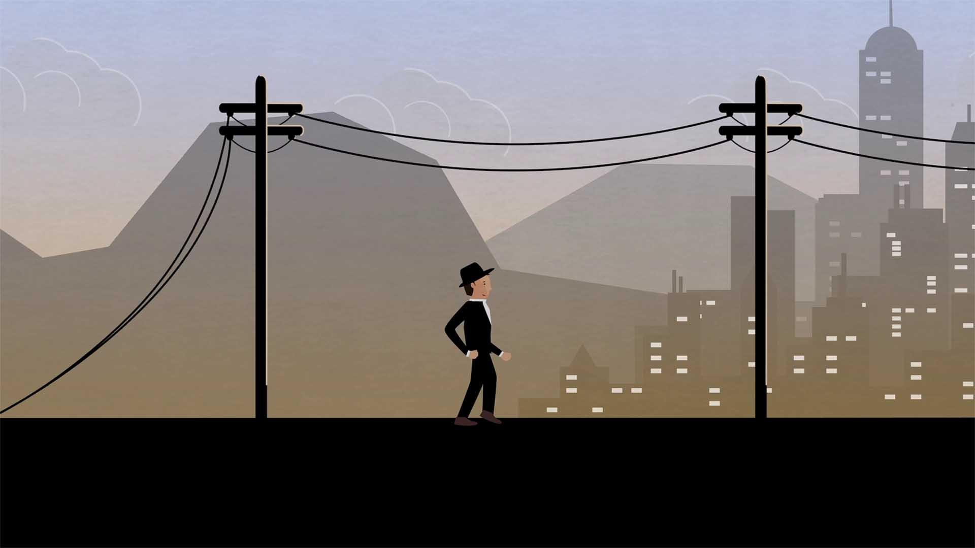 Das Bild zeigt einen Mann der auf einer Straße vor einer Großstadtkulisse läuft. Er trägt einen Hut und einen Anzug. Entlang der Straße sind Strommasten aufgespannt. Das Bild dient als Making Of Bild für den Portfolioeintrag Region Passau Comics Mitmachstation von Panda Pictures.
