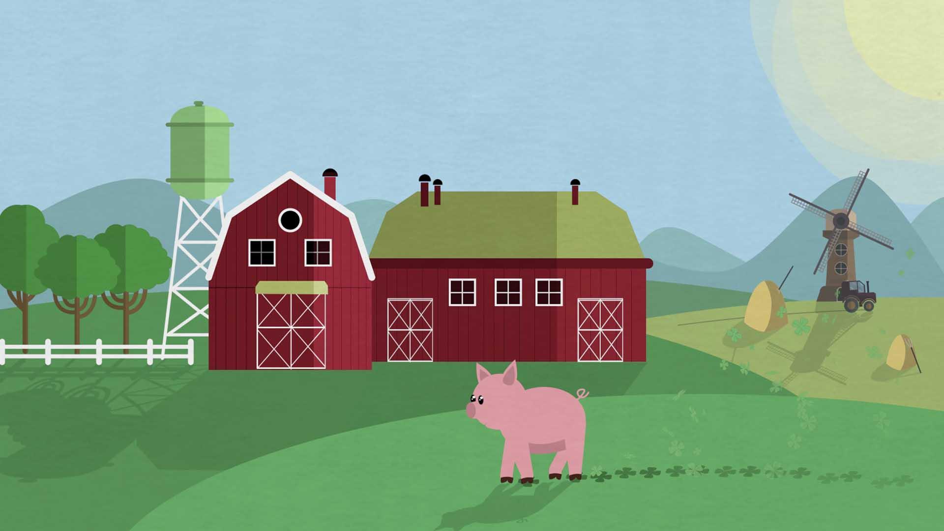 """Das Bild zeigt eine Wiese. Auf dieser Wiese steht ein rotes Bauernhaus. Vor dem Bauernhaus läuft ein kleines Schwein. Es hinterlässt Fußspuren in Form eines Kleeblatts. Rechts neben dem Bauernhof steht eine Mühle. In der rechten Ecke des Bildes schwebt die Sonne. Links neben dem Bauernhof sieht man Bäume. Das Bild dient als Sliderbild für den Portfolioeintrag """"Region Passau Comics Mitmachstation"""" von Panda Pictures."""