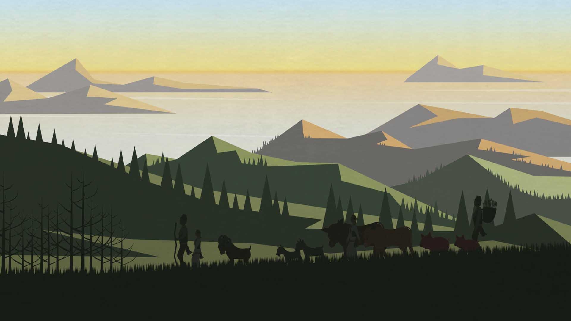 Das Bild zeigt Wälder und Berge. Am Horizont spiegelt sich der Sonnenuntergang im Meer. Im Vordergrund des Bildes werden Menschen von einer Herde Tiere begleitet. Das Bild dient als Sliderbild für den Portfolioeintrag Region Passau Comics Mitmachstation von Panda Pictures.